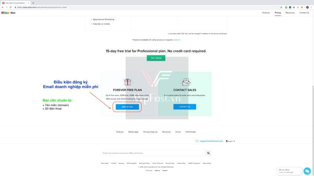 Đăng ký email tên miền miễn phí - zoho mail bước 3