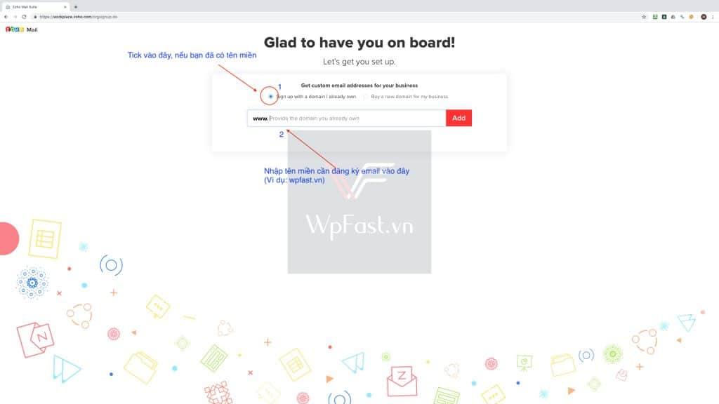Đăng ký email tên miền miễn phí - zoho mail bước 4