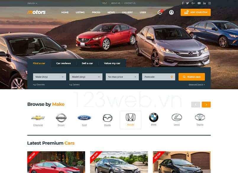 Theme Motors miễn phí - Theme wordpress mua bán xe ô tô đẹp 14
