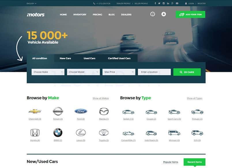 Theme Motors miễn phí - Theme wordpress mua bán xe ô tô đẹp 12