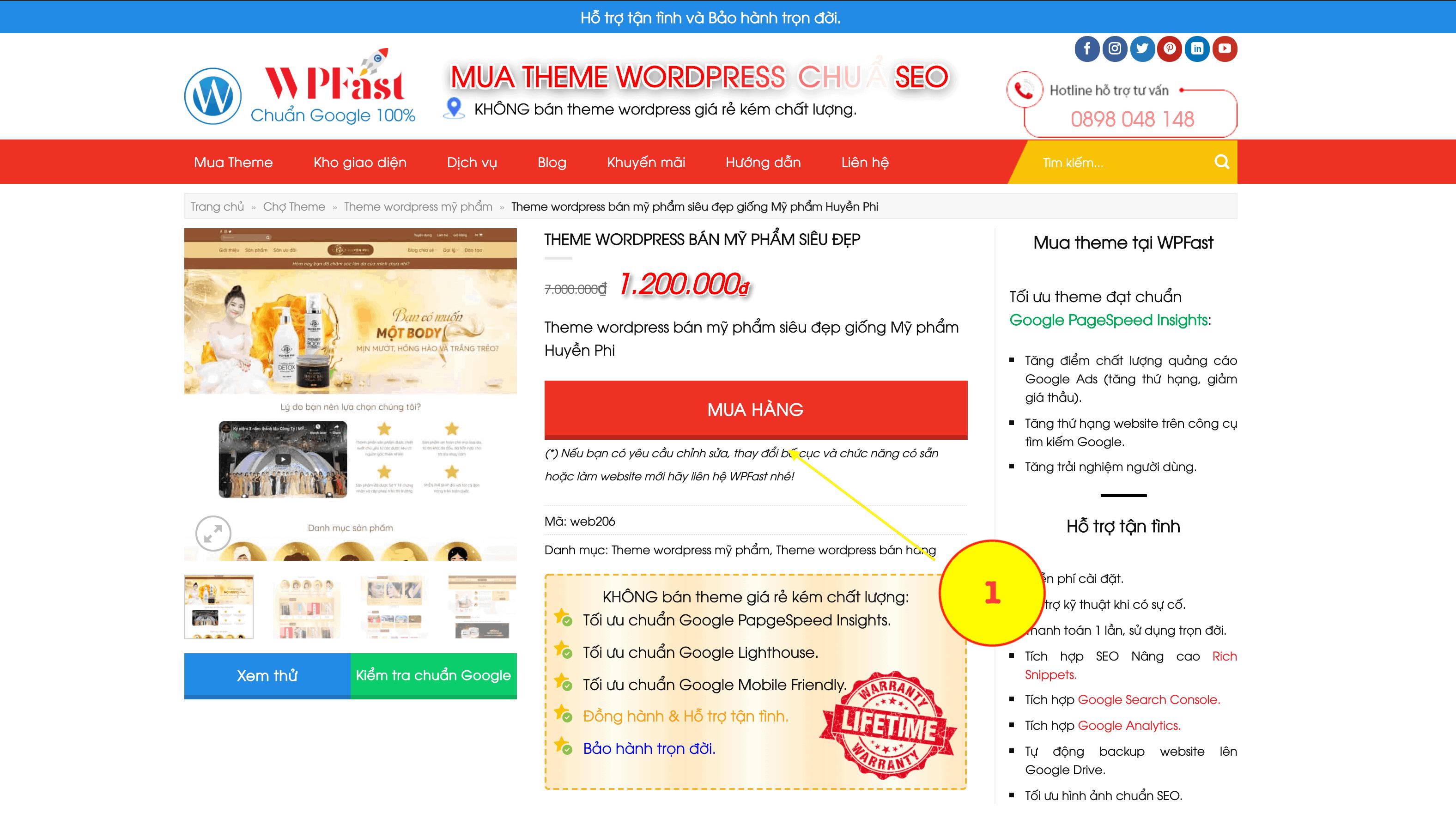 Bước 1: Chọn theme wordpress cần mua